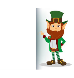 Smiling cartoon character leprechaun with green vector