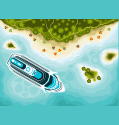 Tropical islands top view and cruise ship vector