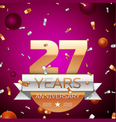 Twenty seven years anniversary celebration design vector