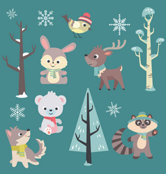 winter time baby animals set vector image vector image