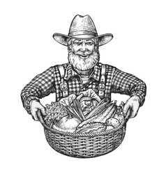 Happy farmer with a basket of vegetables hand vector