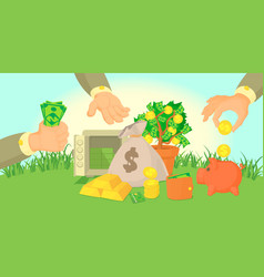money types horizontal banner cartoon style vector image