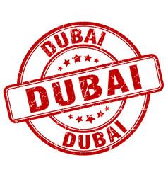 Dubai red grunge round vintage rubber stamp vector