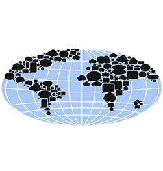 world map filled with speech bubbles vector image