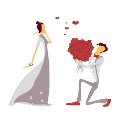 Couple in love lovers engagement vector