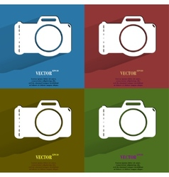 Color set photo camera flat modern web button with vector