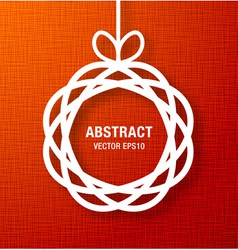 Abstract circle paper applique on red canvas backg vector