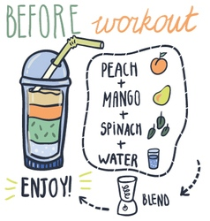 Before workout hand drawn smoothie recipe vector