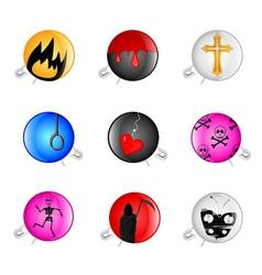 Emo pins badges vector