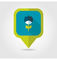 Flower flat pin map icon vector