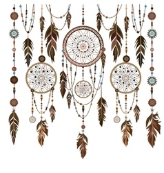 Set dream catcher feathers beads cobweb vector