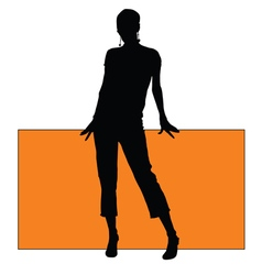 Girl with board silhouette vector