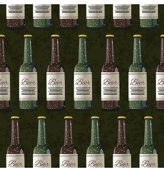 Bottles of light and dark beer on green background vector