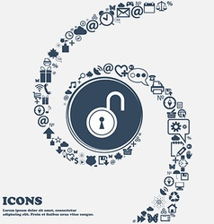 Open lock icon in the center around the many vector