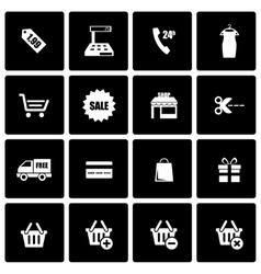 black shopping icon set vector image vector image
