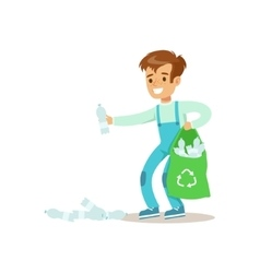 Boy picking recycle garbage helping in eco vector