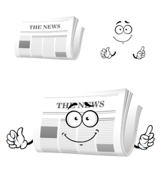 Cartoon newspaper with attention gesture vector image vector image