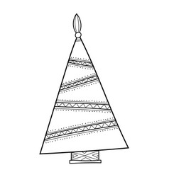 Christmas tree with decorative patterns black and vector