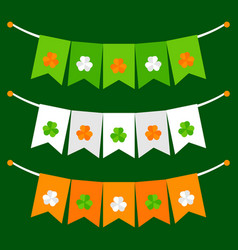 colorful festive bunting with clover on green vector image