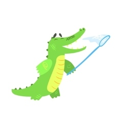 Crocodile catching butterflies with net humanized vector