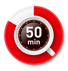 Cup of coffee with time limit for break fifty vector