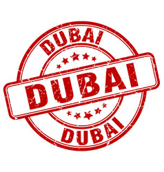 Dubai red grunge round vintage rubber stamp vector