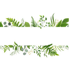 Floral greenery card design with green fern leaves vector