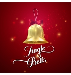 Golden christmas bell holiday vector