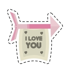 Happy valentines day card arrows with banner cut vector