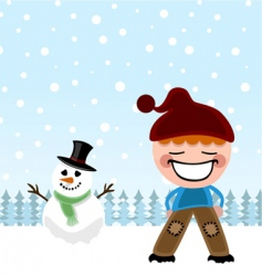 kid and snowman vector image vector image