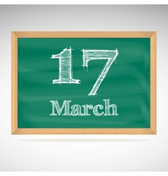 March 17 inscription in chalk on a blackboard vector