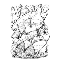 Mexico cuisine tasty food graphic sketch vector