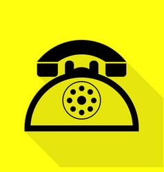 Retro telephone sign black icon with flat style vector