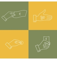 set of business icons Linear hands with vector image