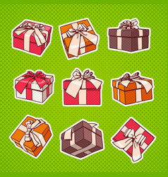 set of colorful gift box pop art retro style of vector image vector image