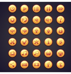 Set of yellow round buttons for the user interface vector image vector image