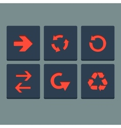 Simple red stamp flat arrow icons set Web elements vector image