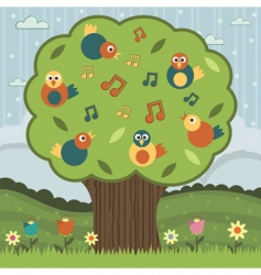 song bird tree vector image vector image
