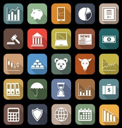 Stock market flat icons with long shadow vector image