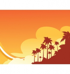 sunset beach vector image vector image