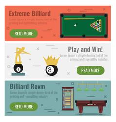 Three banner for billiard vector