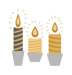 three burning candles in racks isolated on white vector image vector image