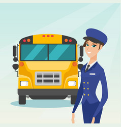 Young caucasian female school bus driver vector