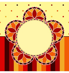 Stained glass flower card vector
