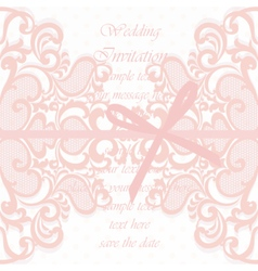 Wedding invitation card with lace ornament vector