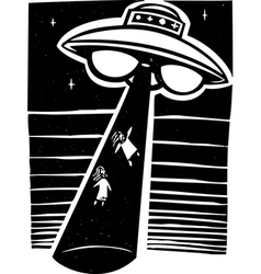 Alien abduction night vector