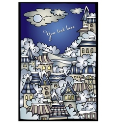Cartoon winter fairytale town greeting card vector