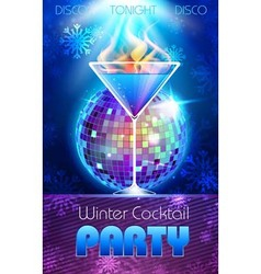 Disco background winter cocktail party poster vector