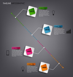 Time line info graphic colored square element vector