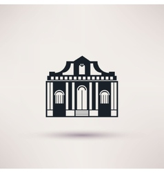 Museum building art icon flat isolated vector